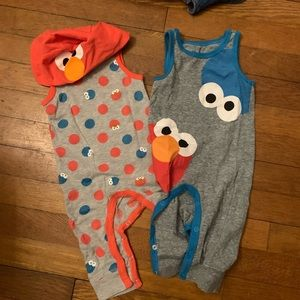 Elmo and Cookie Monster Rompers